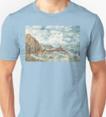 Stormy Ocean Shore With Sailboat T-Shirt
