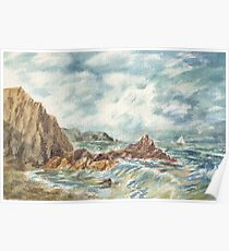 Stormy Ocean Shore With Sailboat Poster