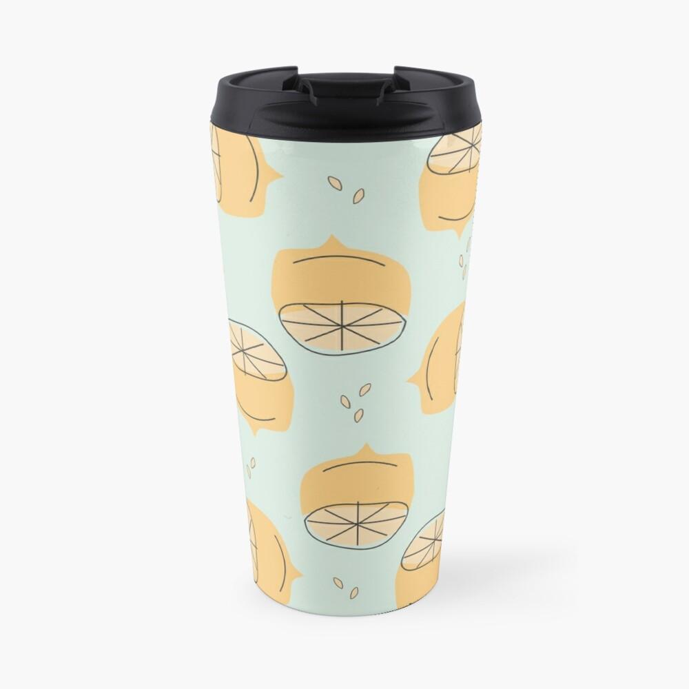 Lemon Pattern Illustration Travel Mug