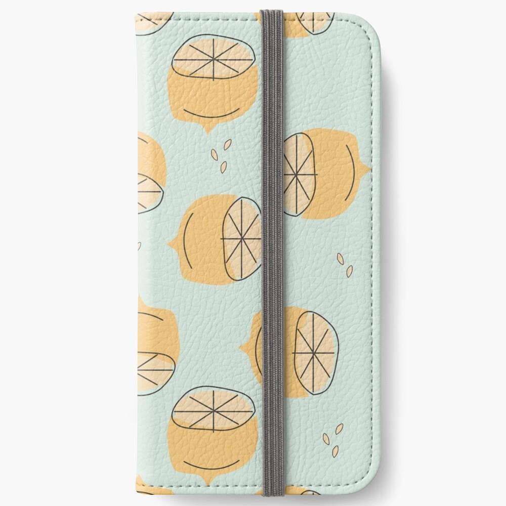 Lemon Pattern Illustration iPhone Wallet