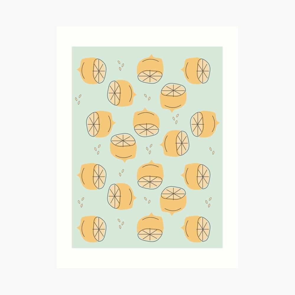 Lemon Pattern Illustration Art Print