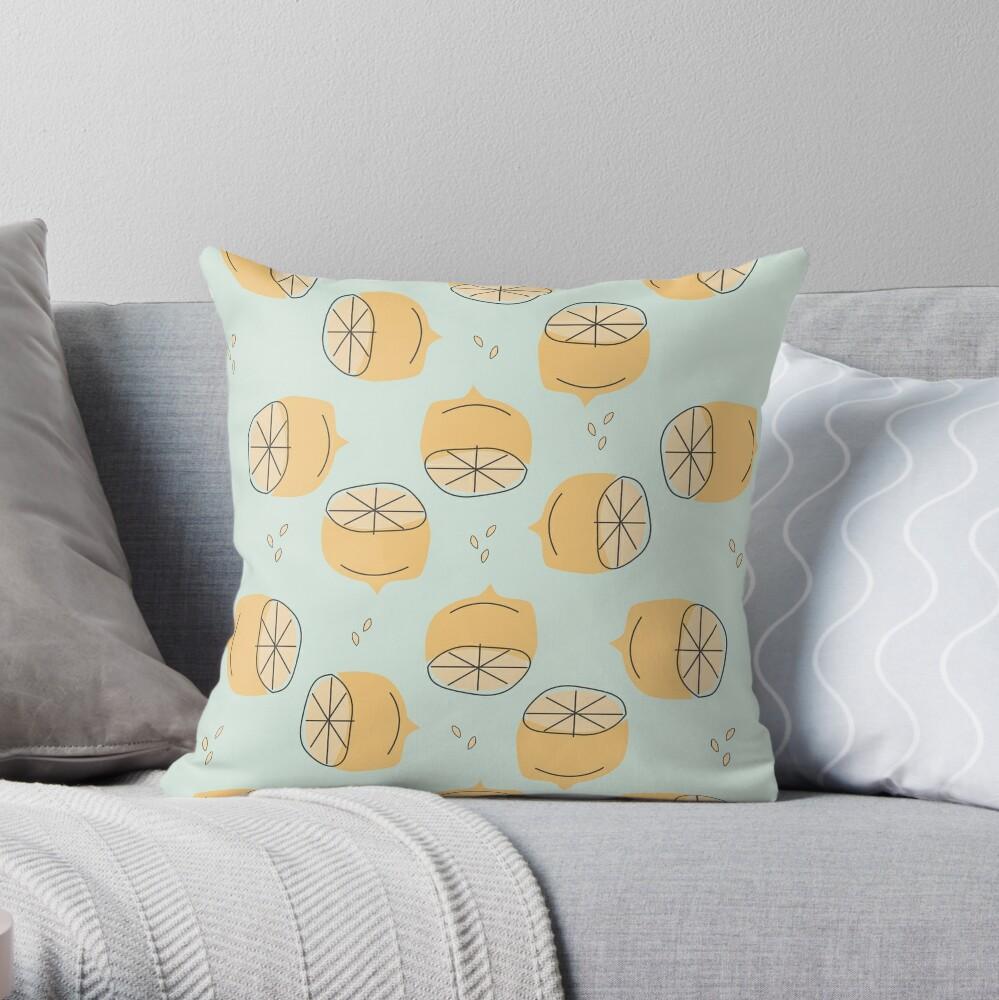 Lemon Pattern Illustration Throw Pillow