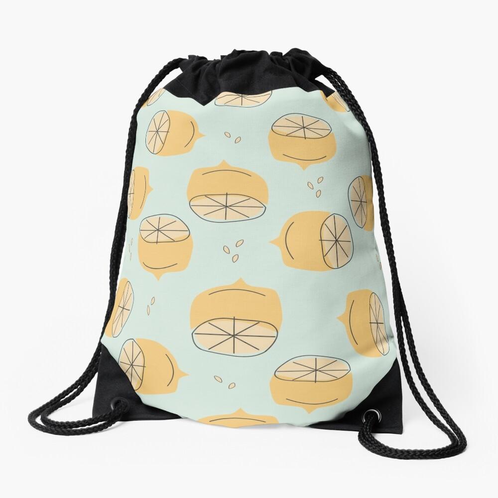 Lemon Pattern Illustration Drawstring Bag
