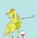 Glücklicher Golf spielender Dinosaurier von Jacqueline Hurd