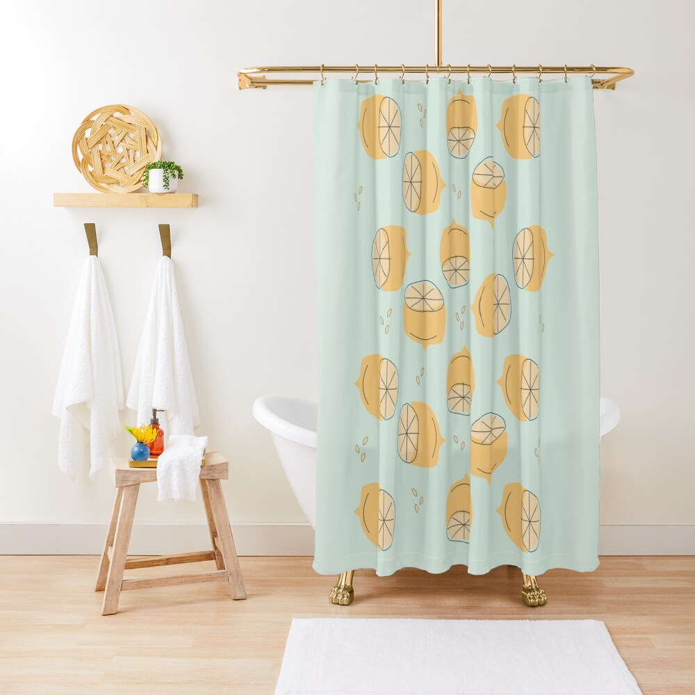 Lemon Pattern Illustration Shower Curtain