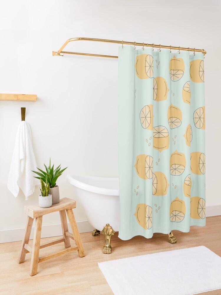 Alternate view of Lemon Pattern Illustration Shower Curtain