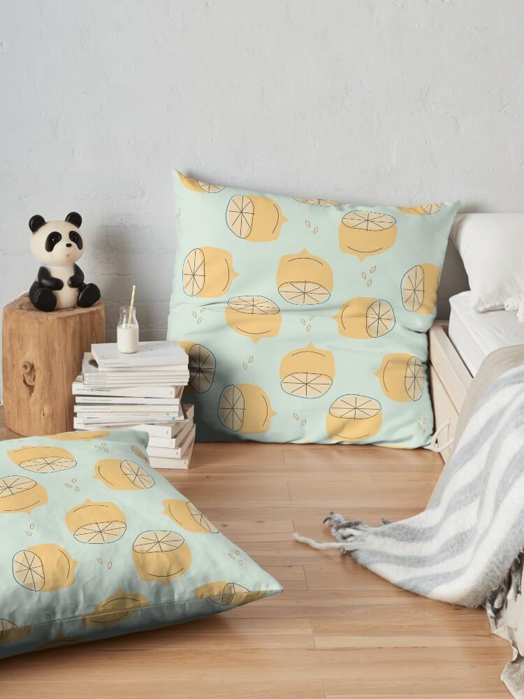 Alternate view of Lemon Pattern Illustration Floor Pillow