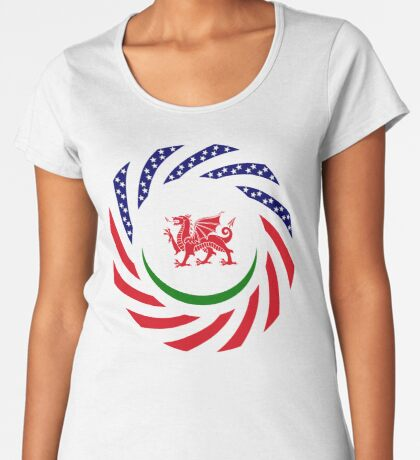 Welsh American Multinational Patriot Flag Series Premium Scoop T-Shirt