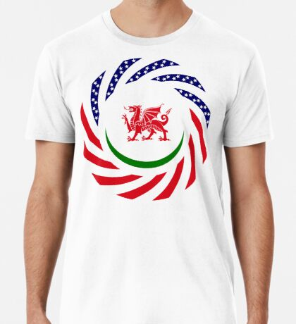 Welsh American Multinational Patriot Flag Series Premium T-Shirt