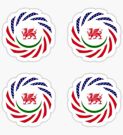 Welsh American Multinational Patriot Flag Series Sticker