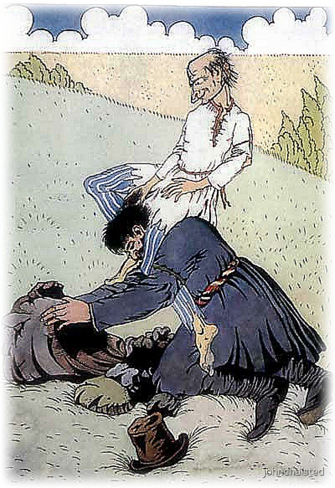 """OLD MISERY SEATED HIMSELF FIRMLY ON HIS SHOULDERS from """"Old Peter's Russian Tales"""" by johndhalsted"""