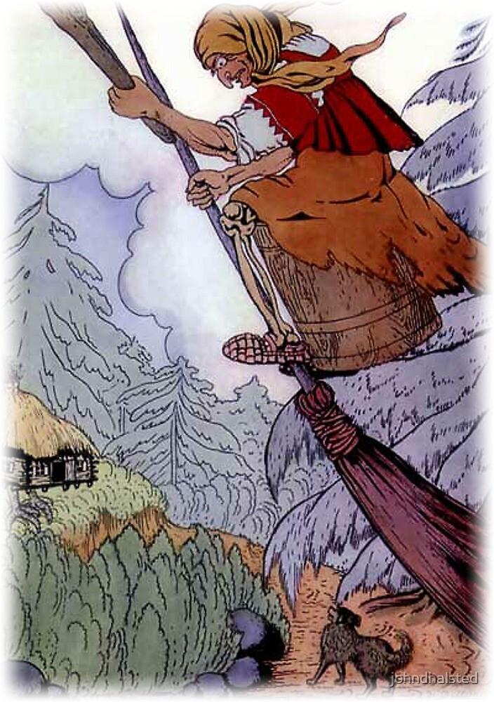 """THERE SHE WAS BEATING WITH THE PESTLE AND SWEEPING WITH THE BROOM from the story """"Baba Yaga And The Little Girl With The Kind Heart"""" by johndhalsted"""