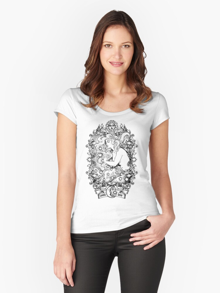 Cosmic Lovers  - ink solo version Women's Fitted Scoop T-Shirt Front