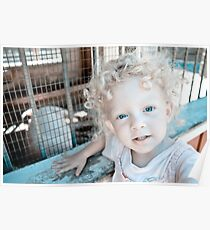 Blue Eyed curly blonde girl with pink dress and pink pig Poster