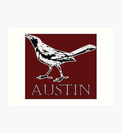 Austin Grackle - Black and White Art Print