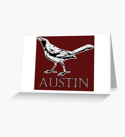 Austin Grackle - Black and White Greeting Card