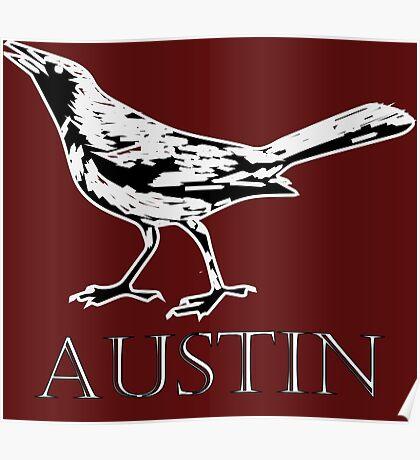Austin Grackle - Black and White Poster