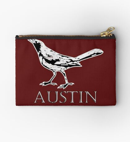 Austin Grackle - Black and White Zipper Pouch