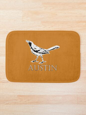 Austin Grackle - Black and White Bath Mat
