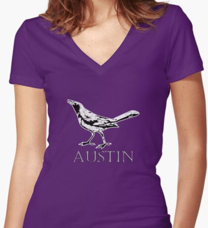 Austin Grackle - Black and White Fitted V-Neck T-Shirt