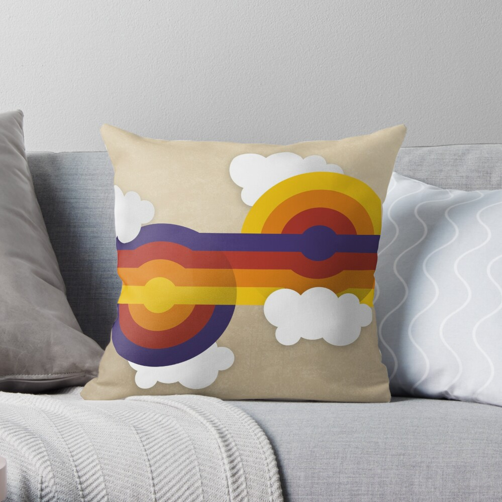 Cloudy with a chance of retro balls Throw Pillow