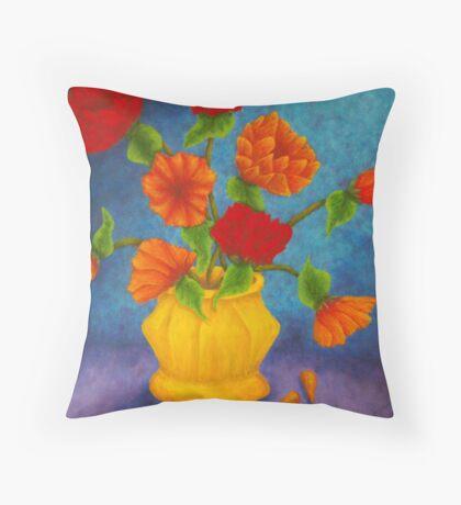 Red & Orange Flowers Throw Pillow