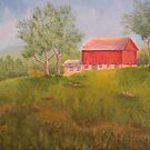 New England Red Barn by Allegretto