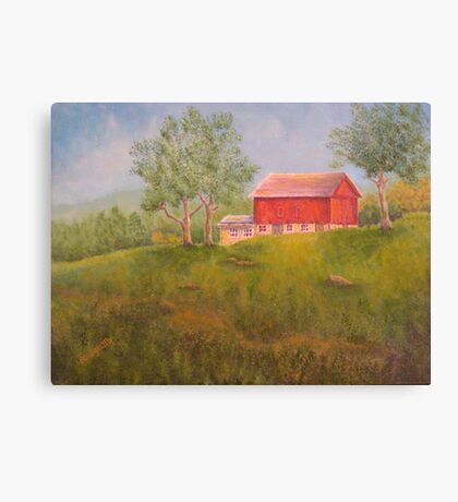 New England Red Barn Canvas Print