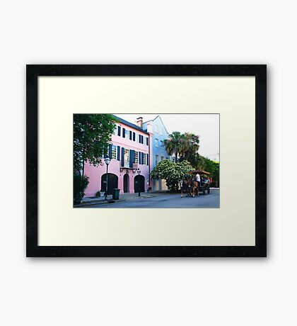 Rainbow Row in Charleston Framed Print