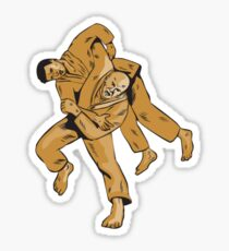 Judo Combatants Throw Front Etching Sticker