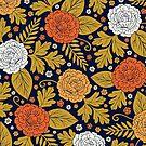 Retro Orange, White and Gold Dark Floral by somecallmebeth