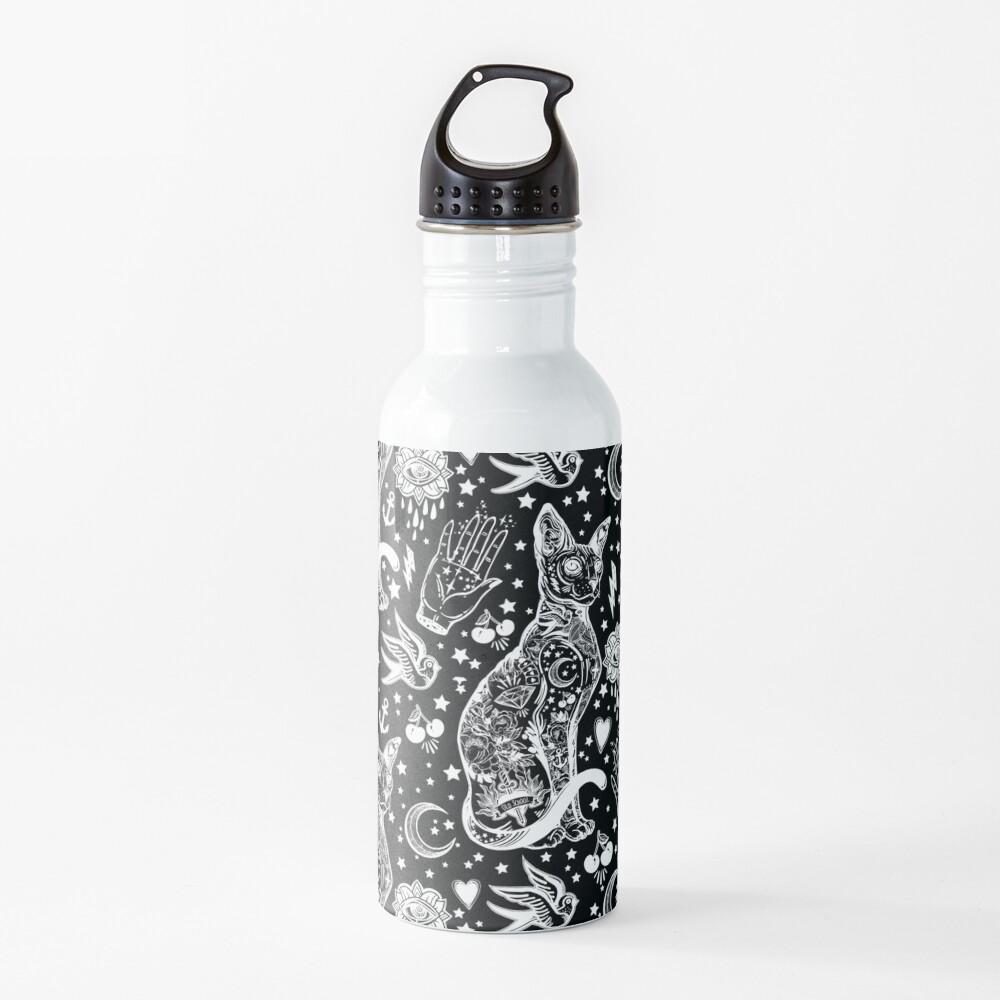 Diseño abstracto de los gatos del espacio. Botella de agua