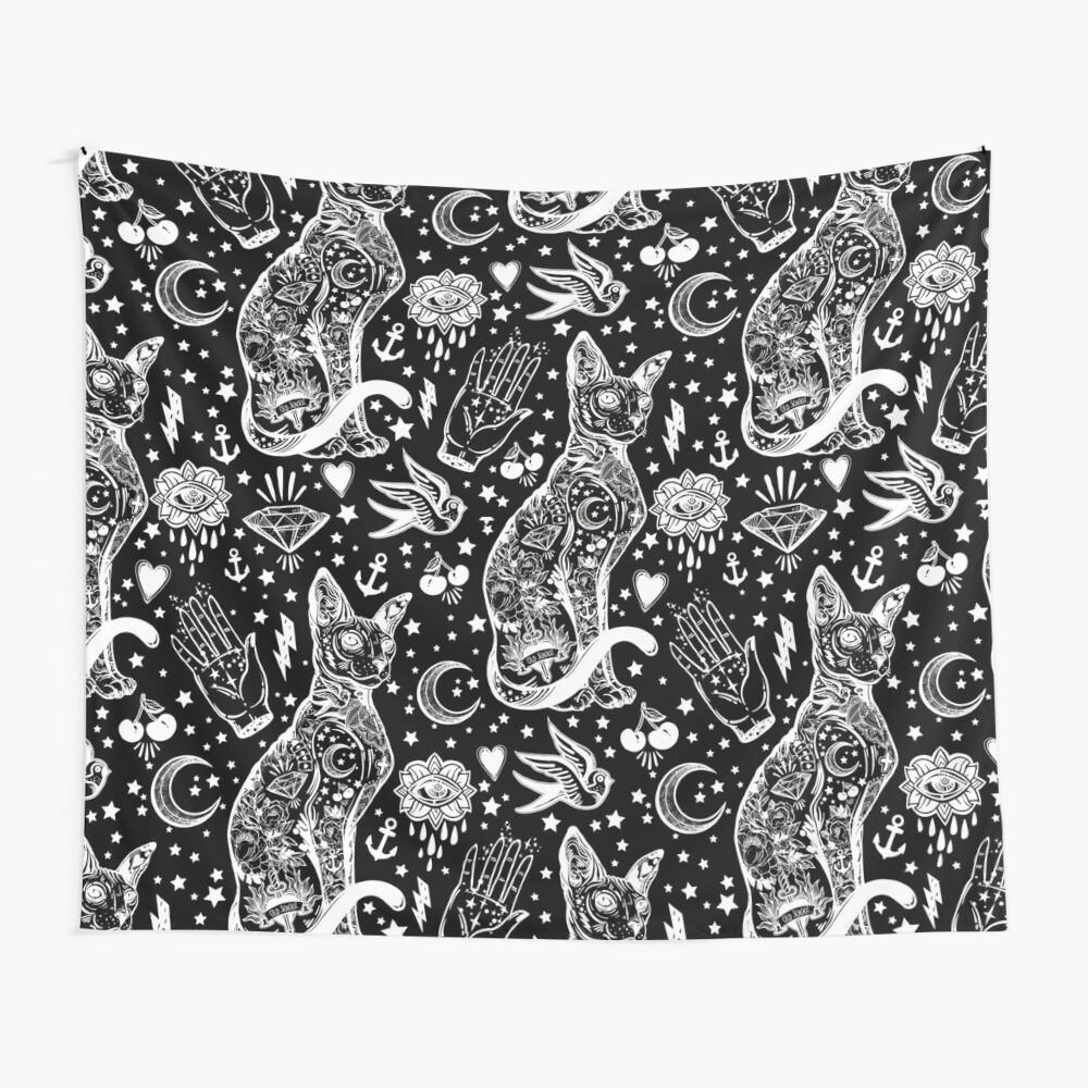 Diseño abstracto de los gatos del espacio. Tela decorativa