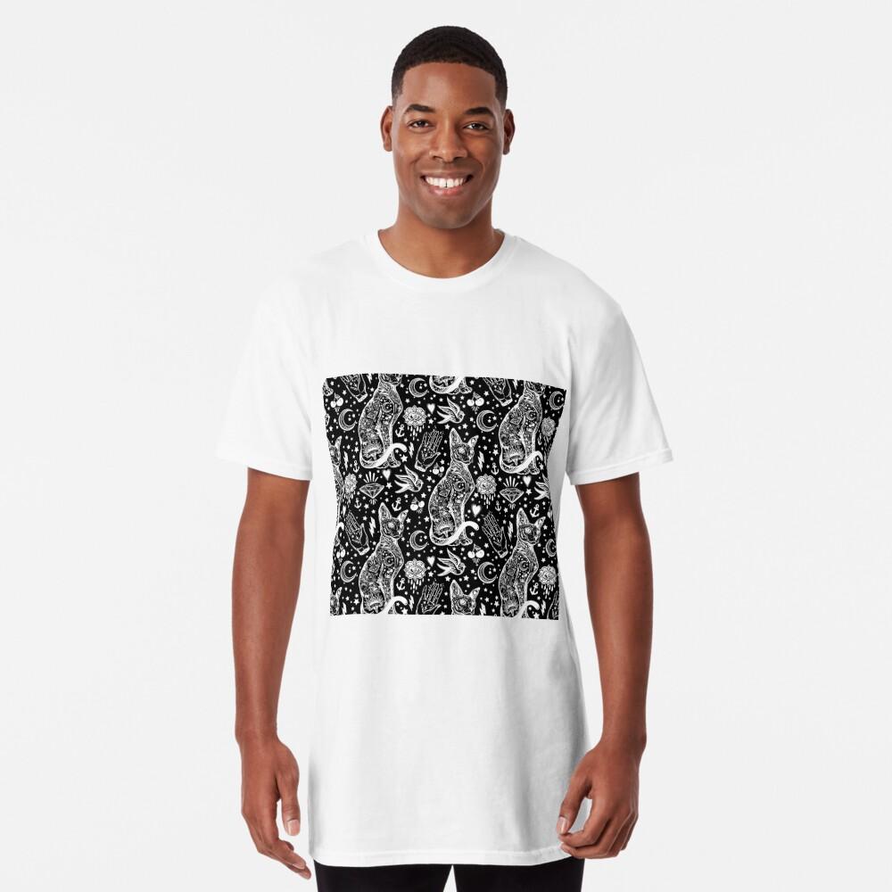 Diseño abstracto de los gatos del espacio. Camiseta larga