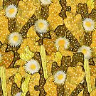 Cacti Camouflage, Floral Pattern, Golden Yellow Husk Brown by clipsocallipso