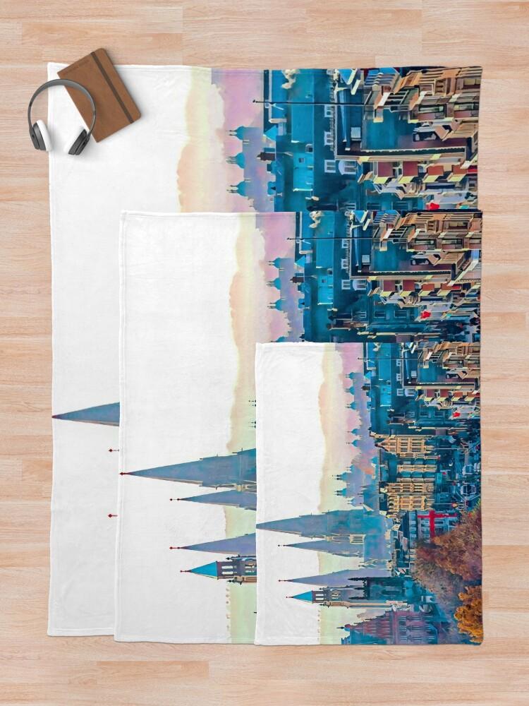 Alternate view of Edinburgh Cityscape Photo Art Throw Blanket