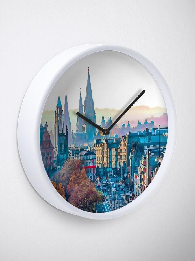 Alternate view of Edinburgh Cityscape Photo Art Clock