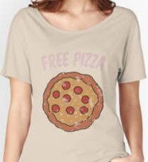 Free Pizza Guy (print on RED for best results) Women's Relaxed Fit T-Shirt