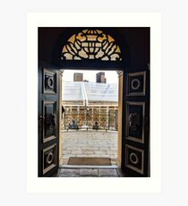 Ornate doors with transom window Art Print