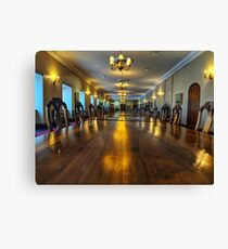 Long wooden conference table Canvas Print