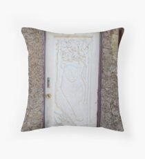 White embossed door Throw Pillow