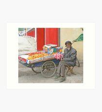 Old Man with Fruit Cart Art Print