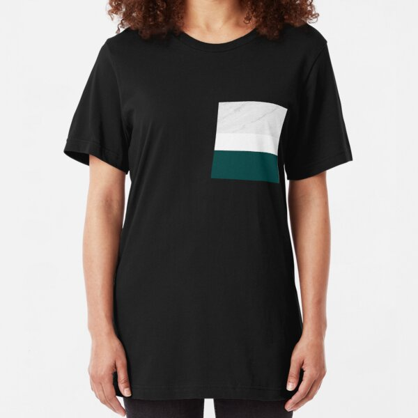MARBLE TEAL WHITE COLOR BLOCK MODERN GEOMETRY Slim Fit T-Shirt