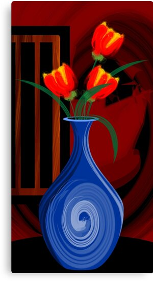 Digital Painting Of A Flower Vase Canvas Prints By Tillydesign
