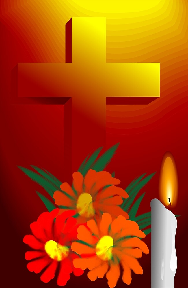 The cross symbol in the candle light by tillydesign