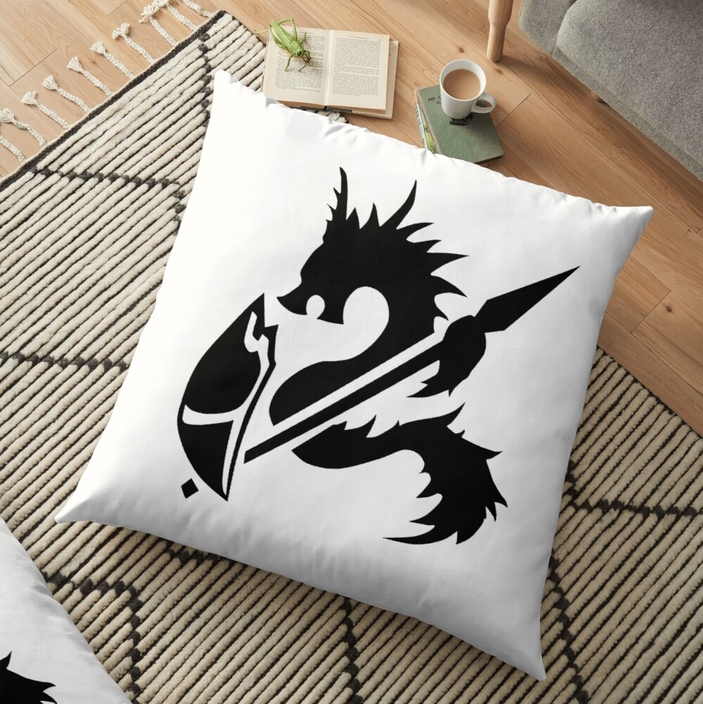 Spear and shield dungeons and dragons fan art player character class shirt Floor Pillow