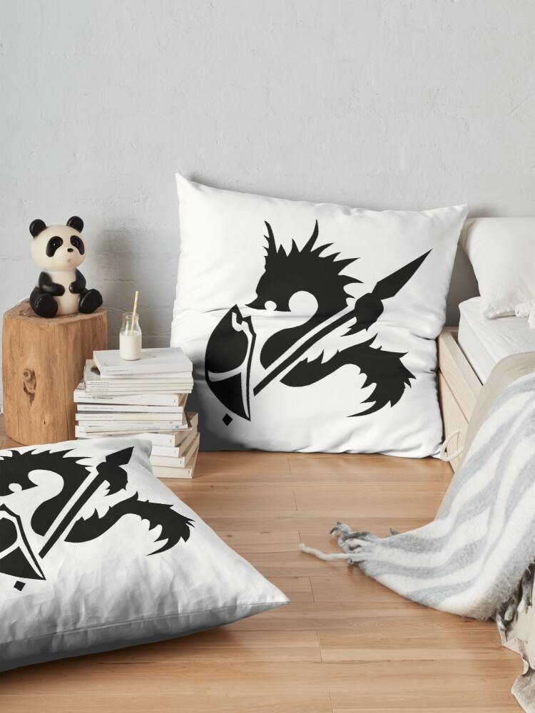 Alternate view of Spear and shield dungeons and dragons fan art player character class shirt Floor Pillow