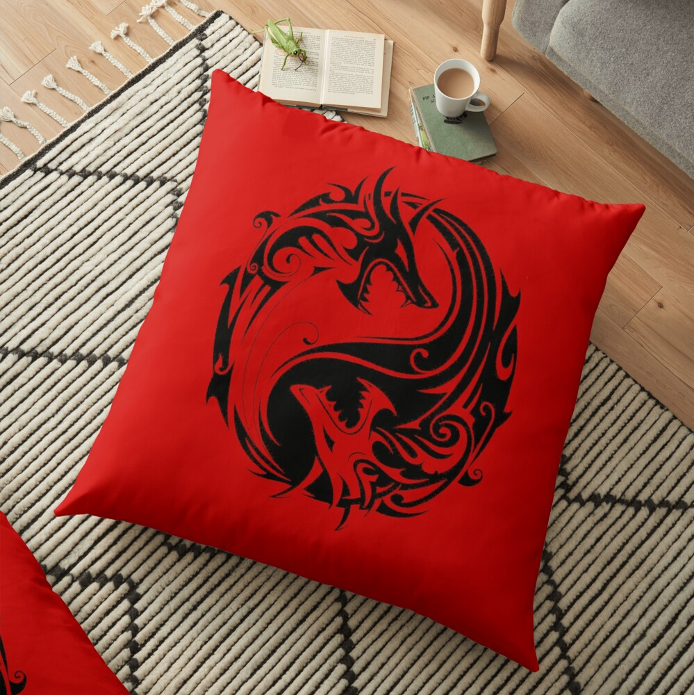 Yin yang dungeons and dragons fan art gift idea shirt for all ages FTW Floor Pillow