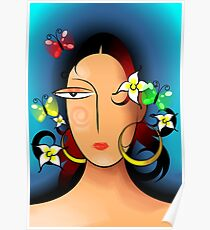 Elegant woman face groomed by flowers Poster