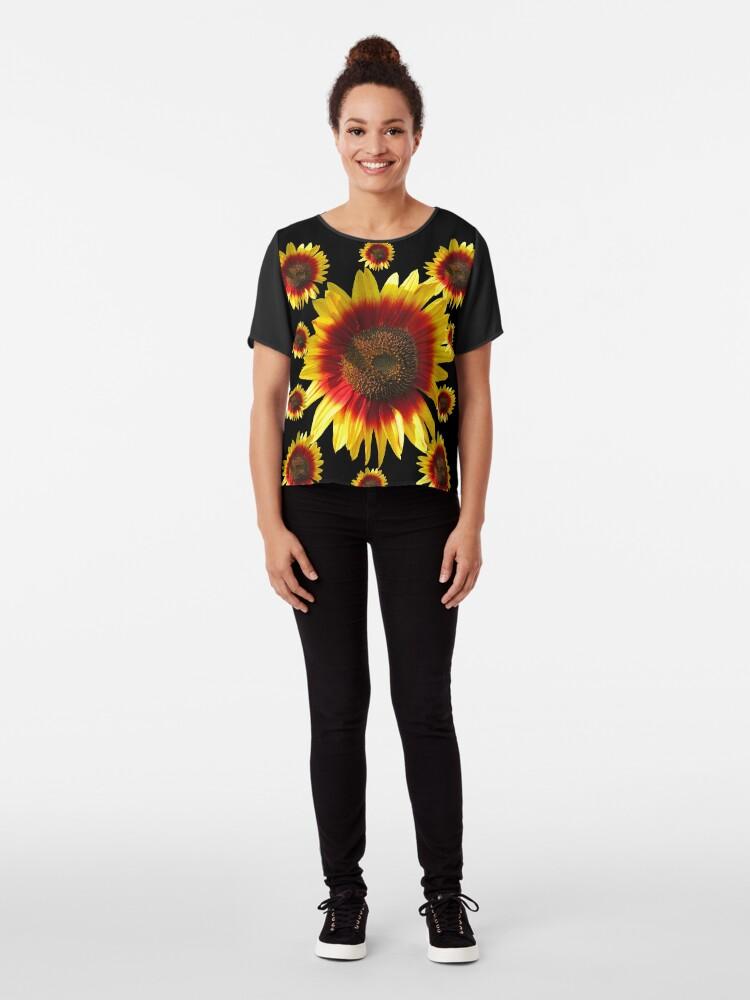 Alternative Ansicht von bunte, blühende Sonnenblumen, Sonnenblume, Blumen Chiffon Top